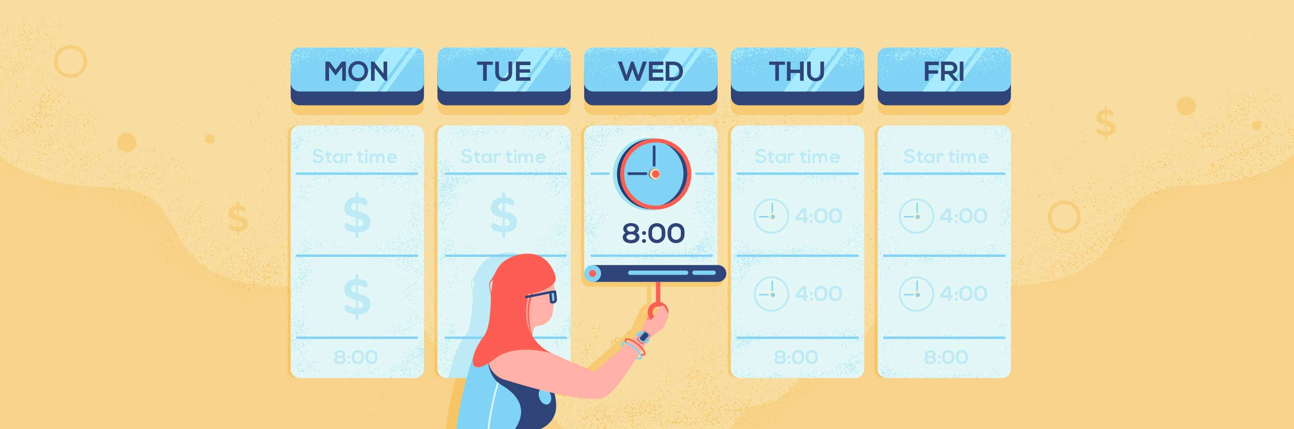 An illustration showing a manager tracking time