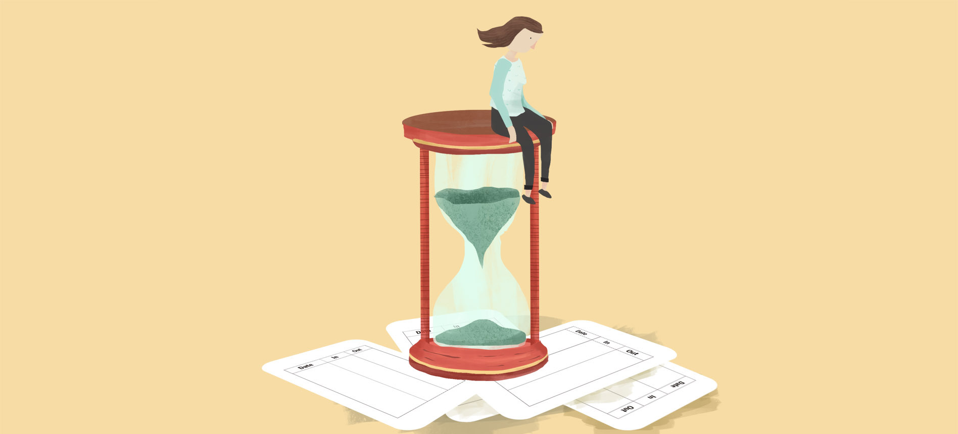 An illustration of a woman sitting on an hourglass