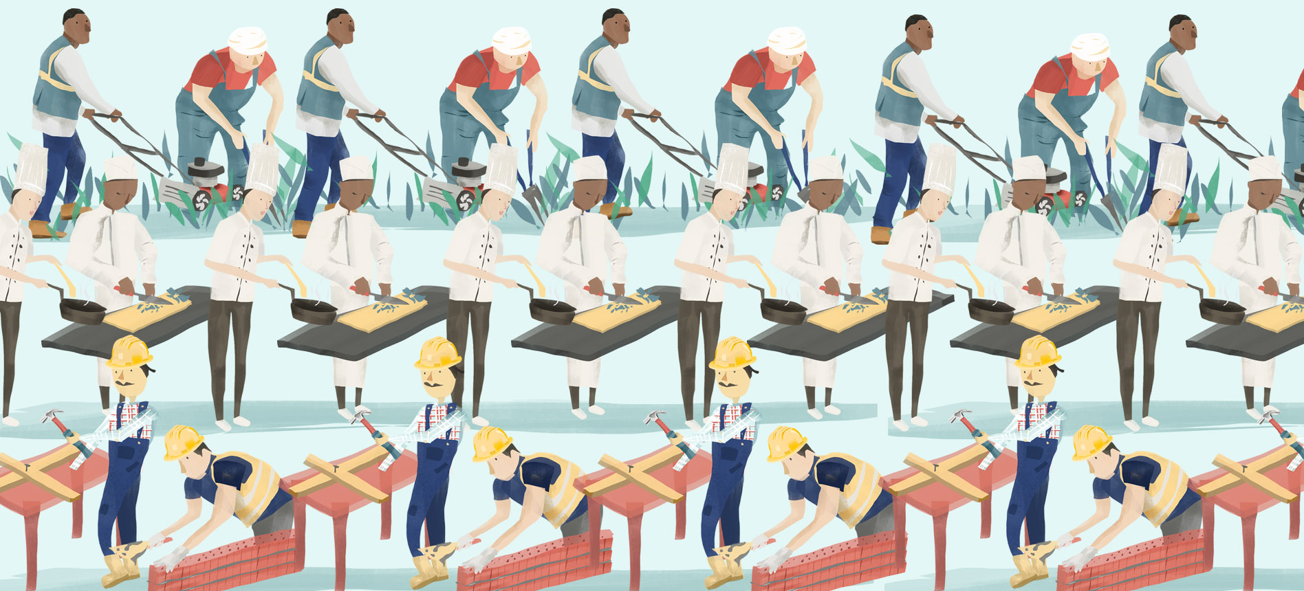 An illustration showing workers working overtime