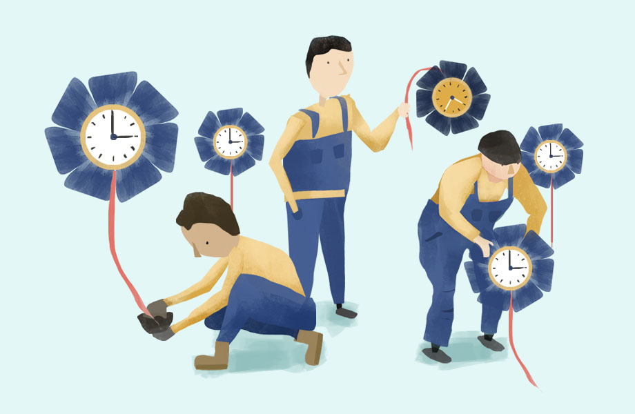 An illustration of workers growing flowers that look like clocks