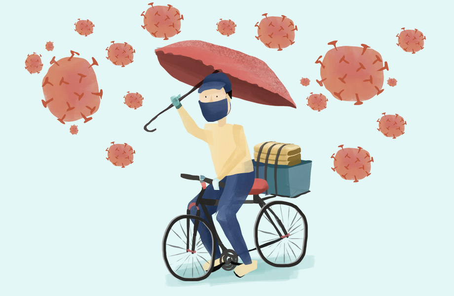 An illustration of a delivery person on a bike amidst covid-19