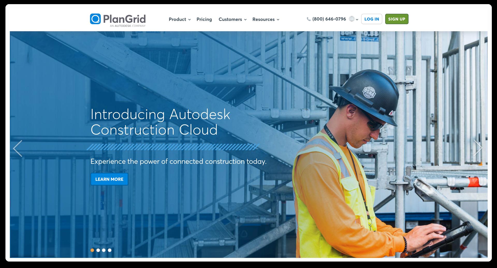 A Plangrid webpage for Autodesk construction cloud.
