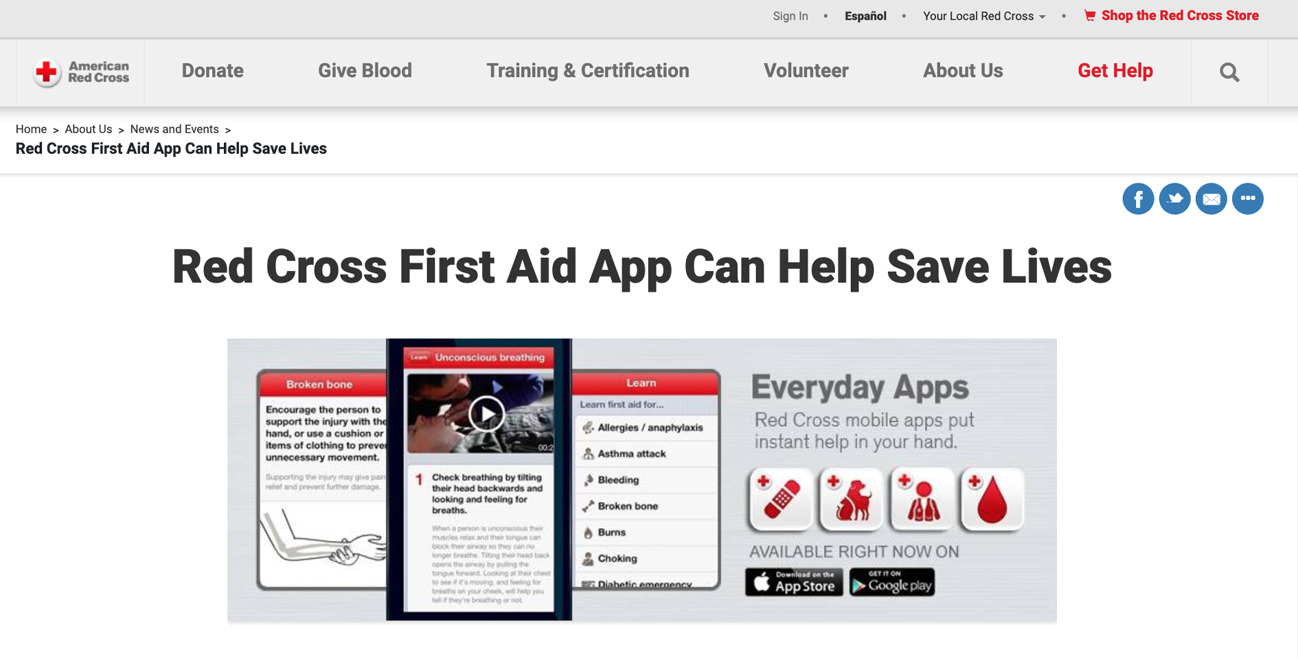 A Red Cross webpage for Red Cross First Aid App.