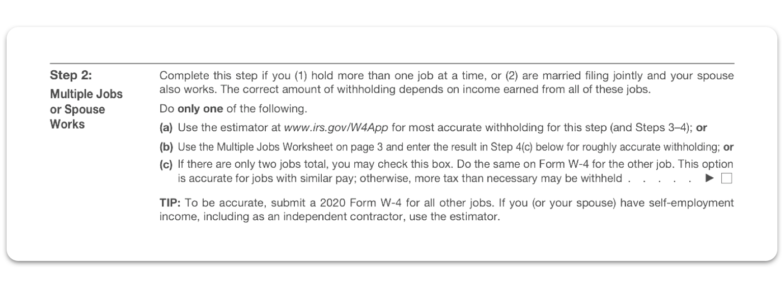 W4 Form Step 2: Multiple Jobs or Spouse Works