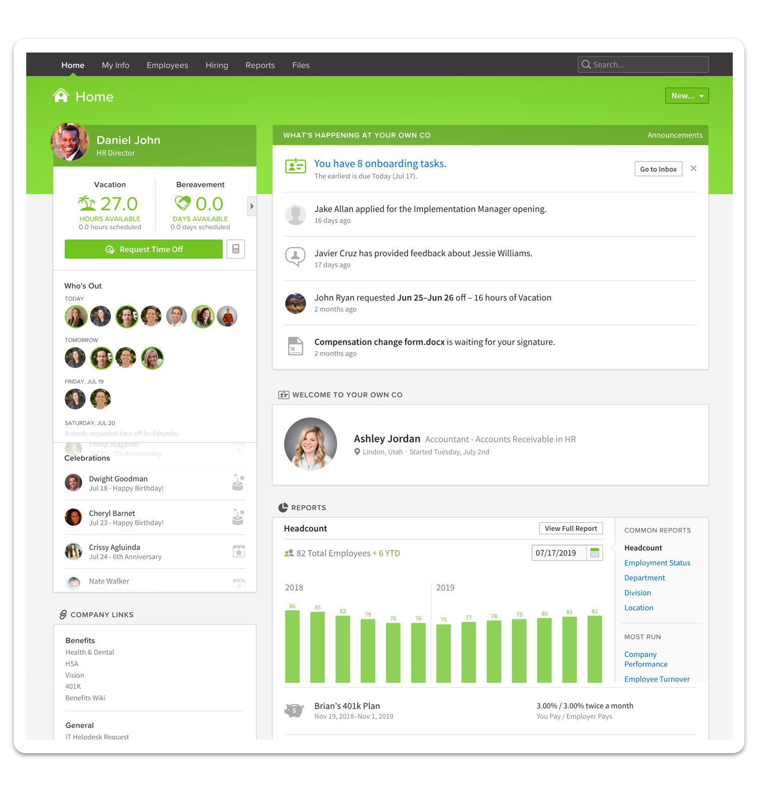 A homepage for online Bamboo workforce platform.