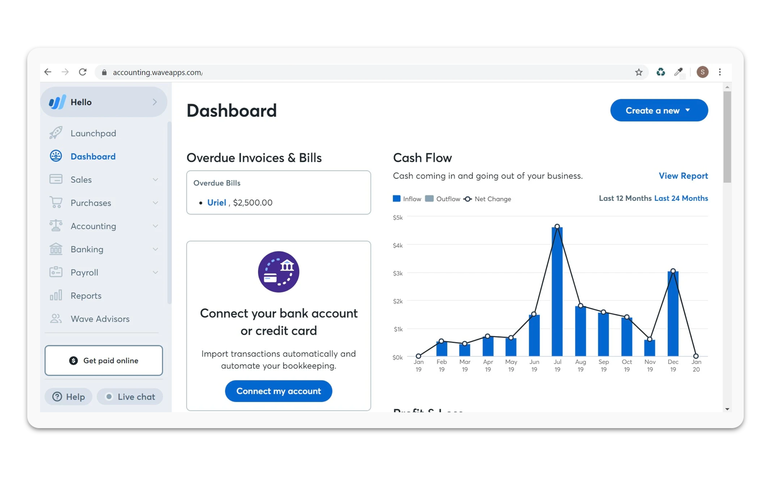 Wave App dashboard preview.