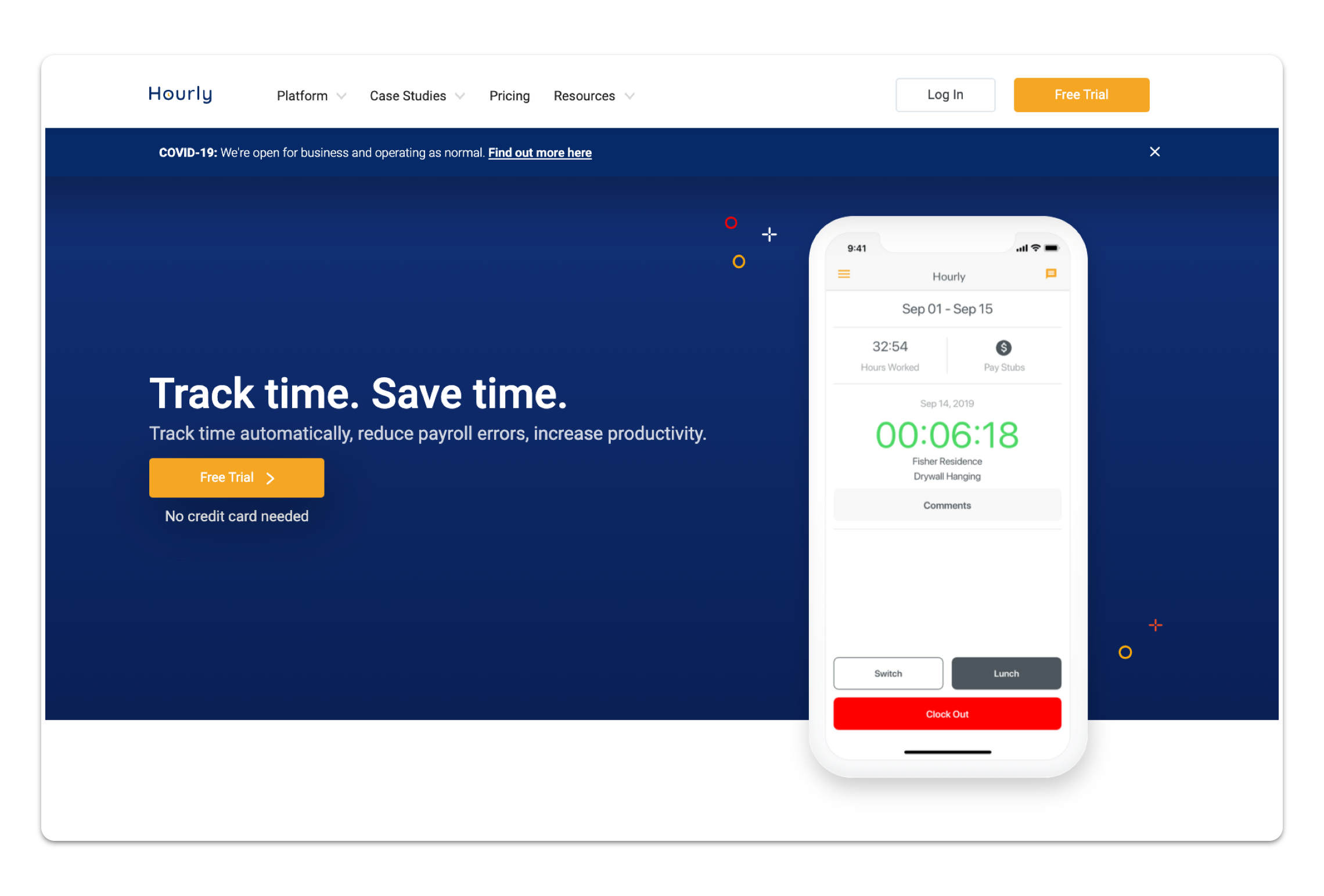 A web page for the Hourly Inc. time-tracking app.