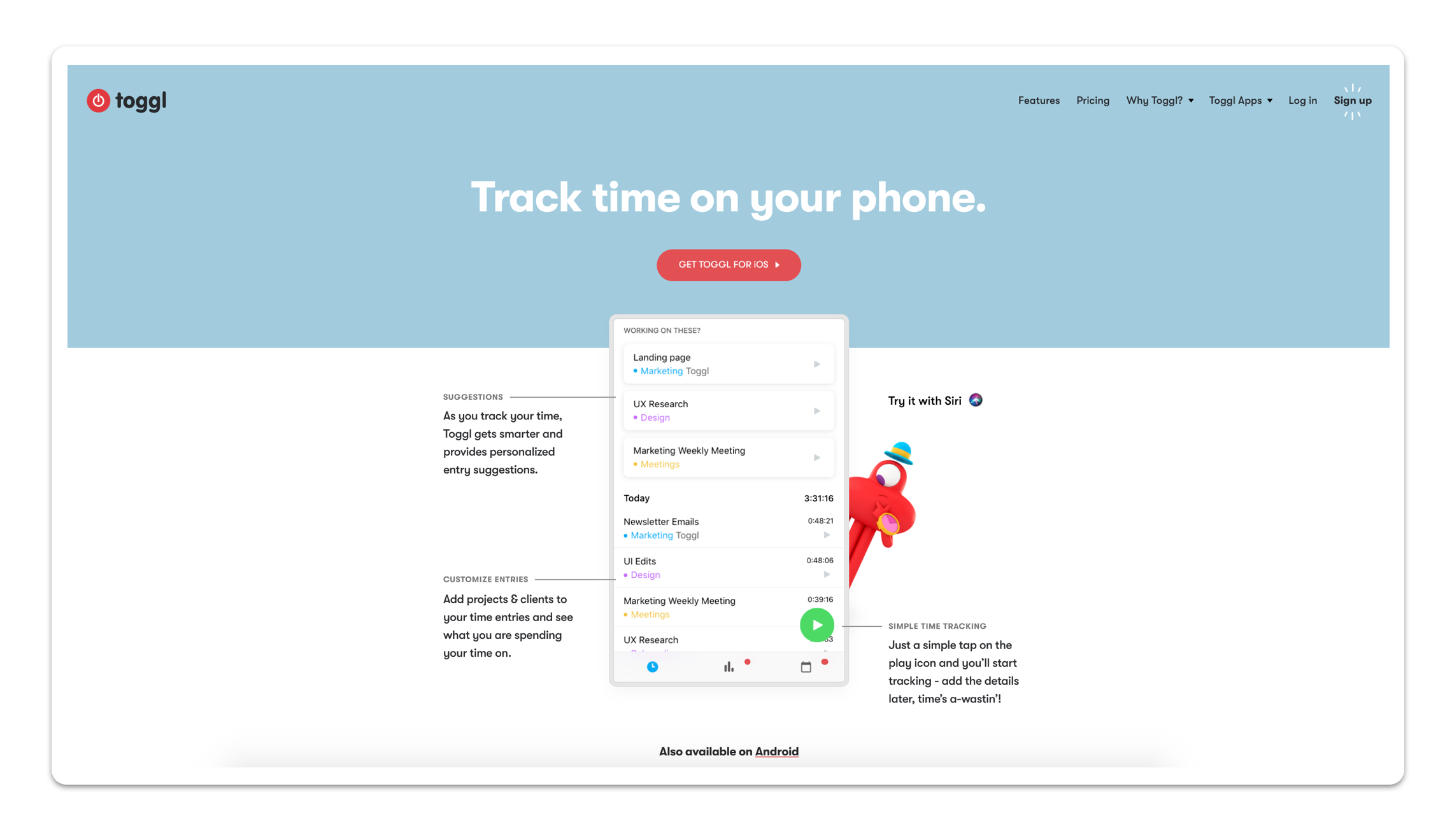 A web page for the Toggle time-tracking app.