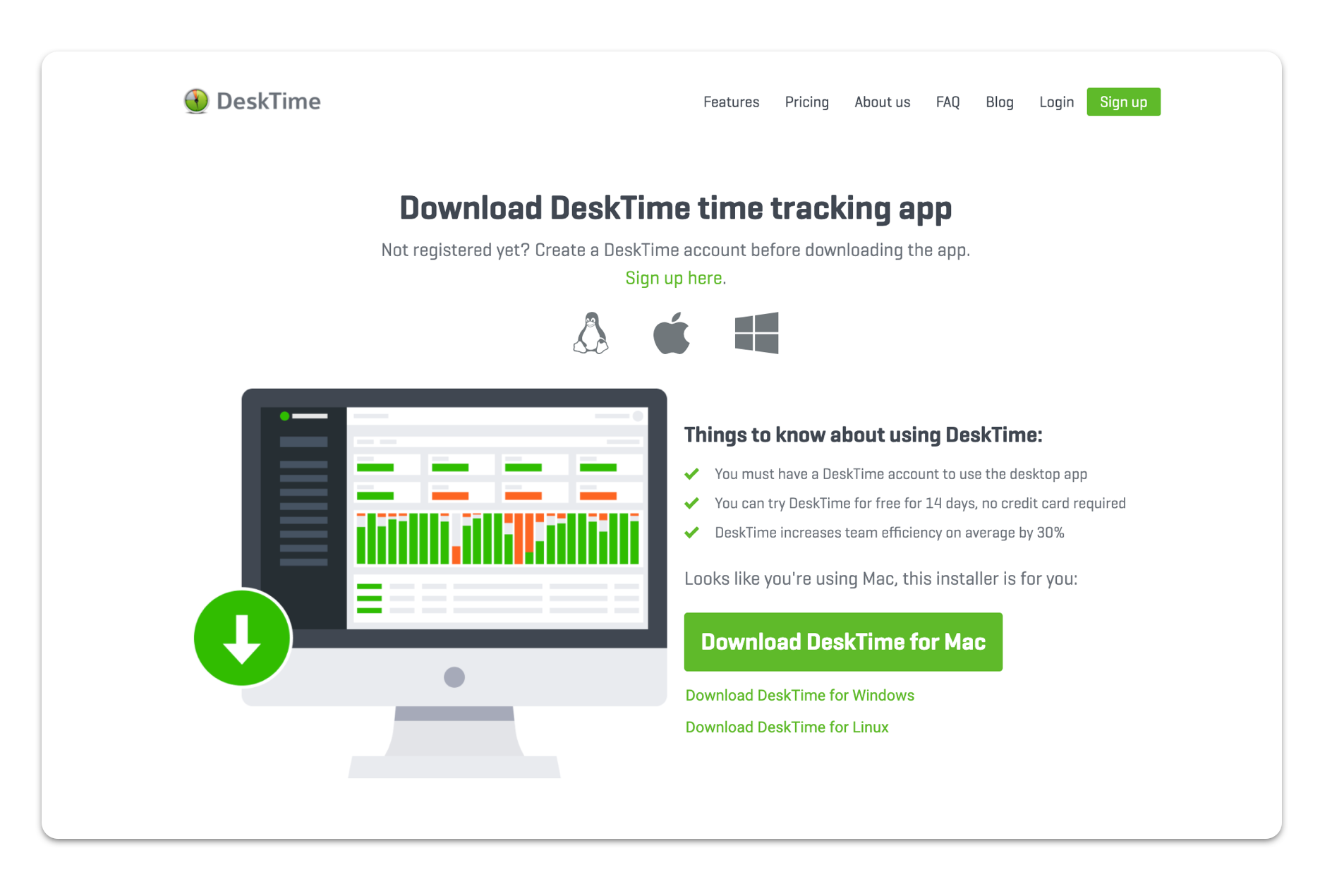 A web page for DestkTime time tracking app.