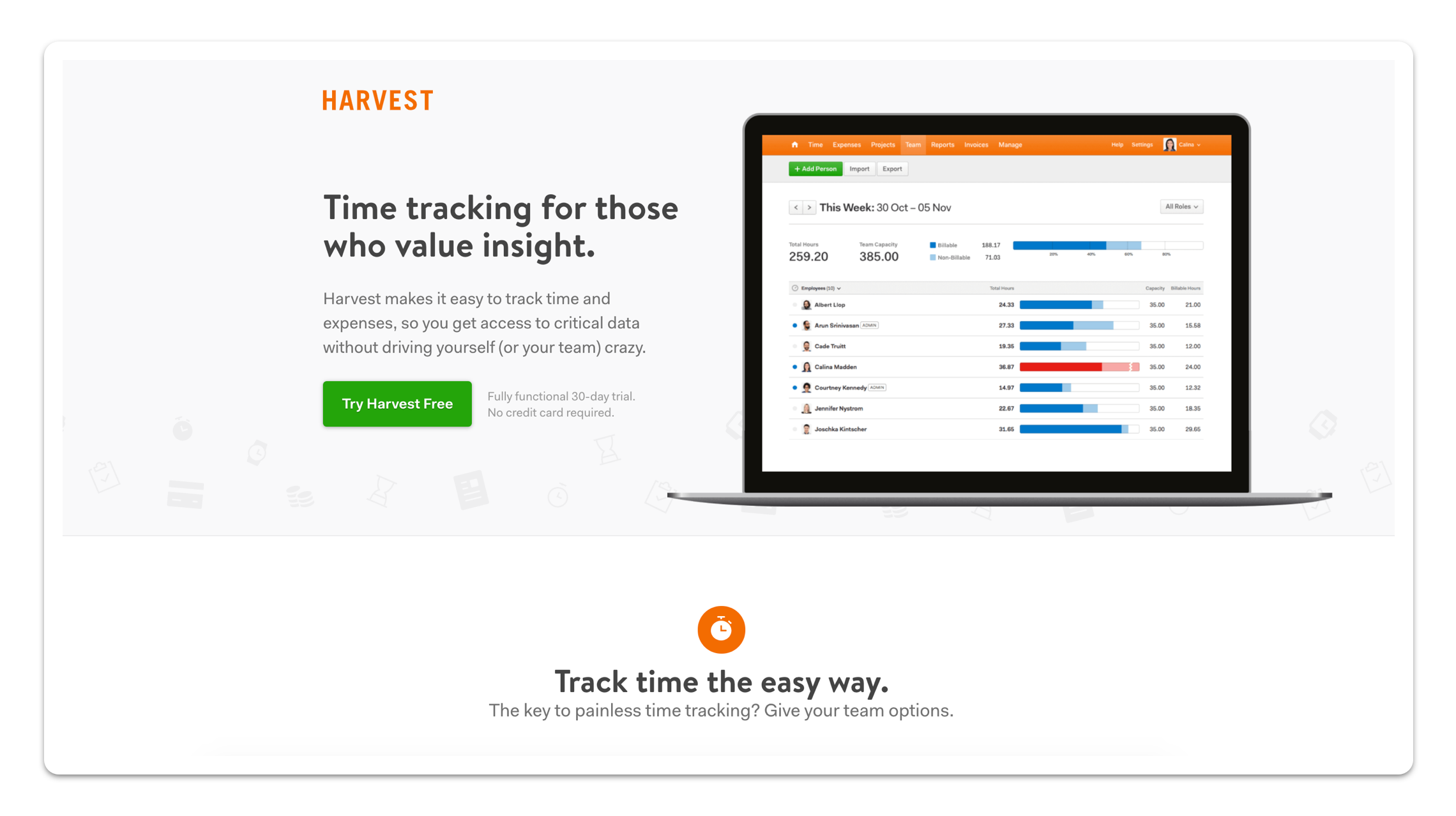 A webpage for Harvest Web time tracking software.