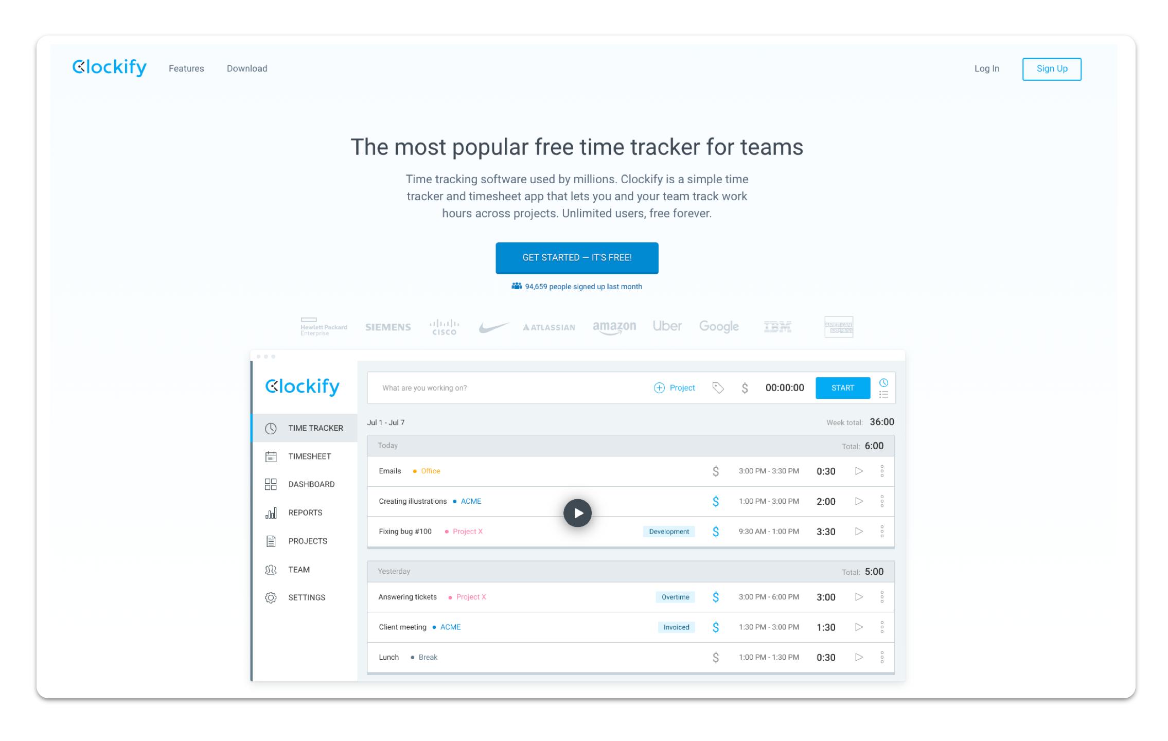 A screenshot of the Clockify app