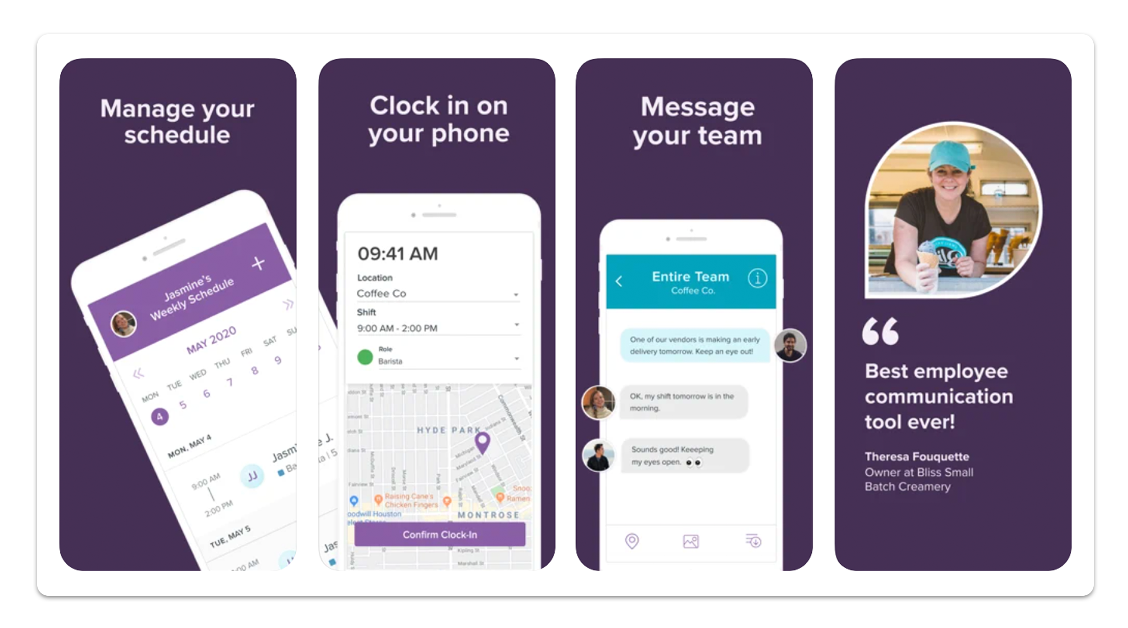 A screenshot of the Homebase time tracking app