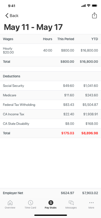 Payroll mobile app detailed paystub view.