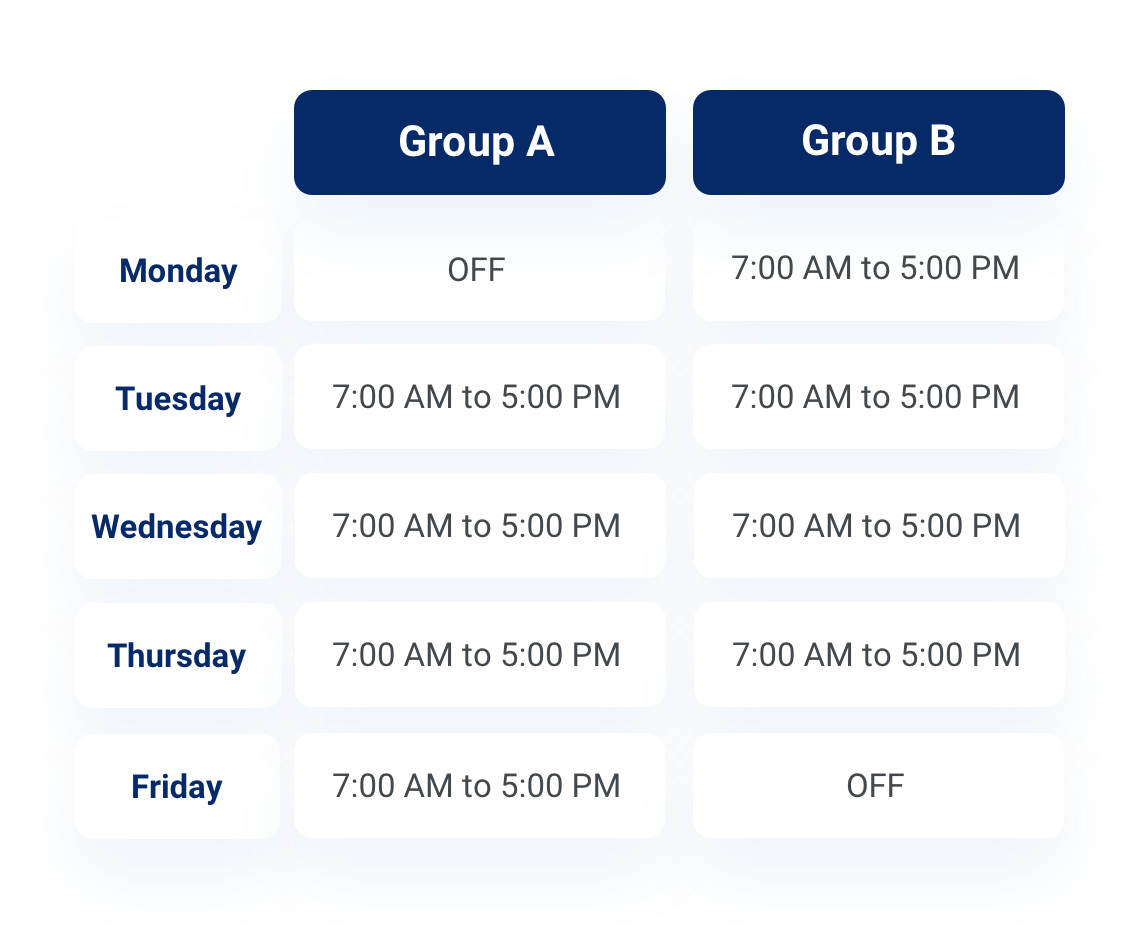 Group A vs. Group B 4/10 sample schedule
