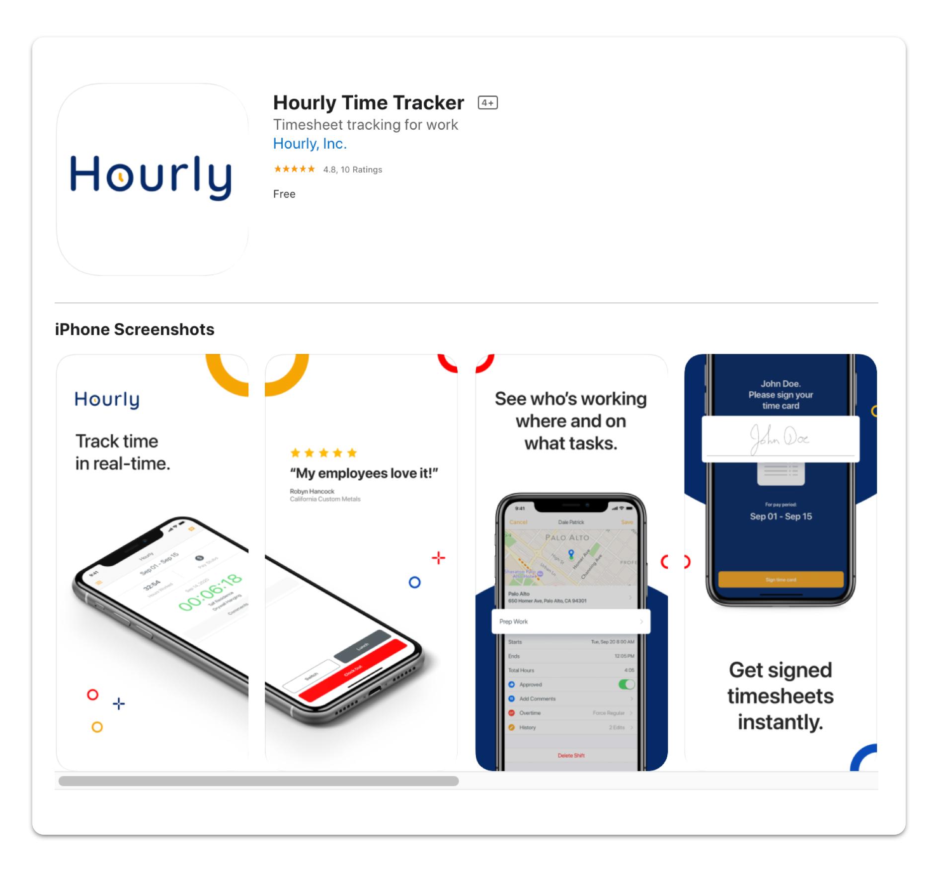 Hourly mobile app screenshots