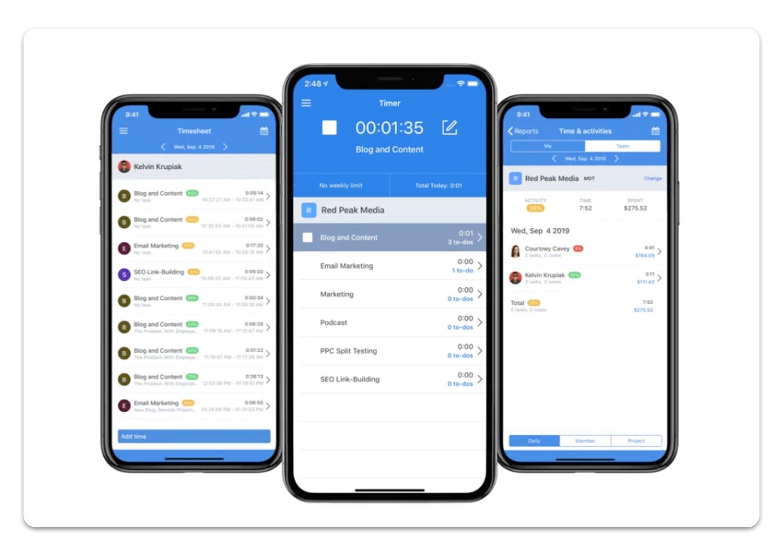 Hubstaff app mobile phone screenshot