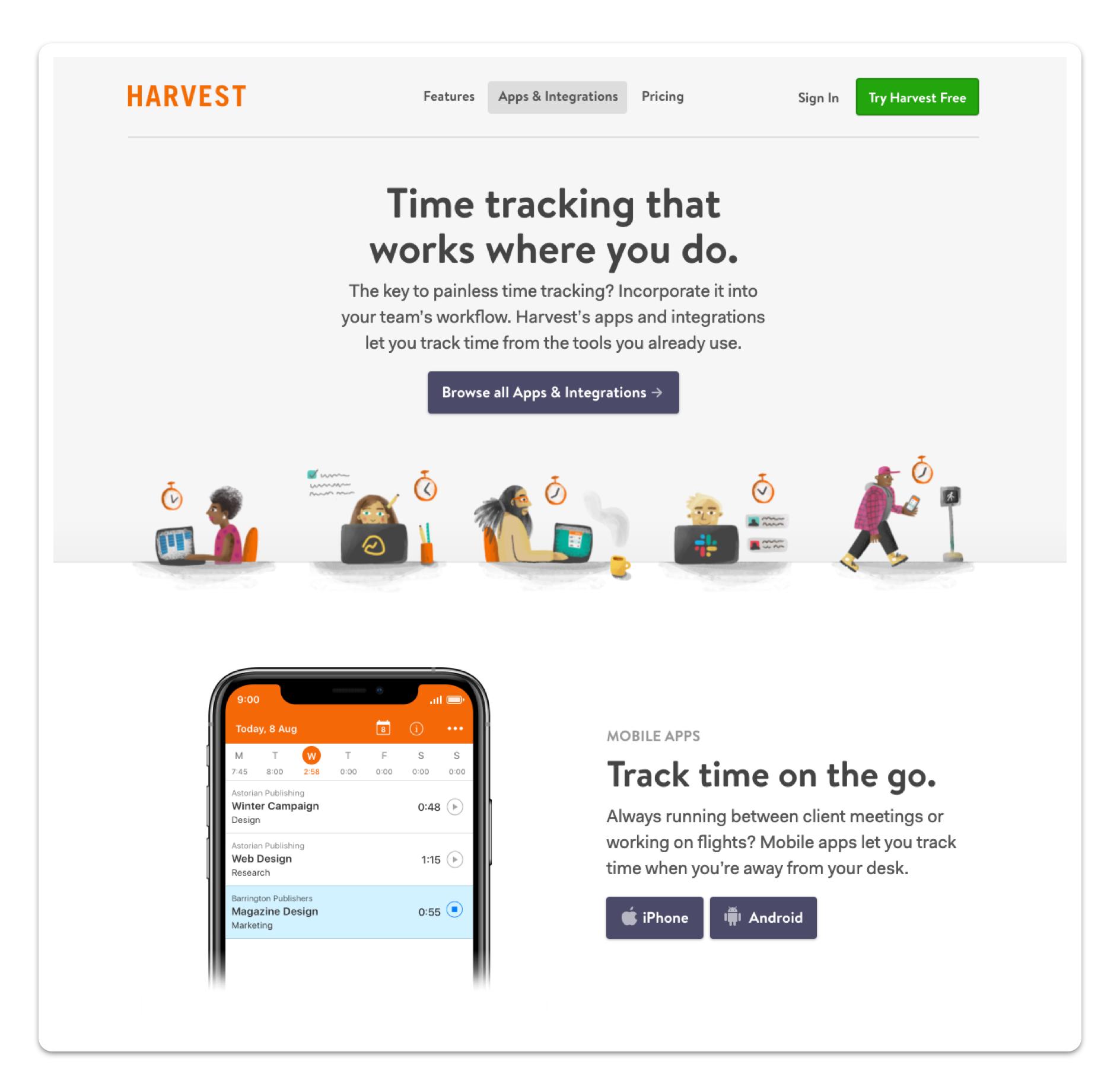 Harvest web screenshot