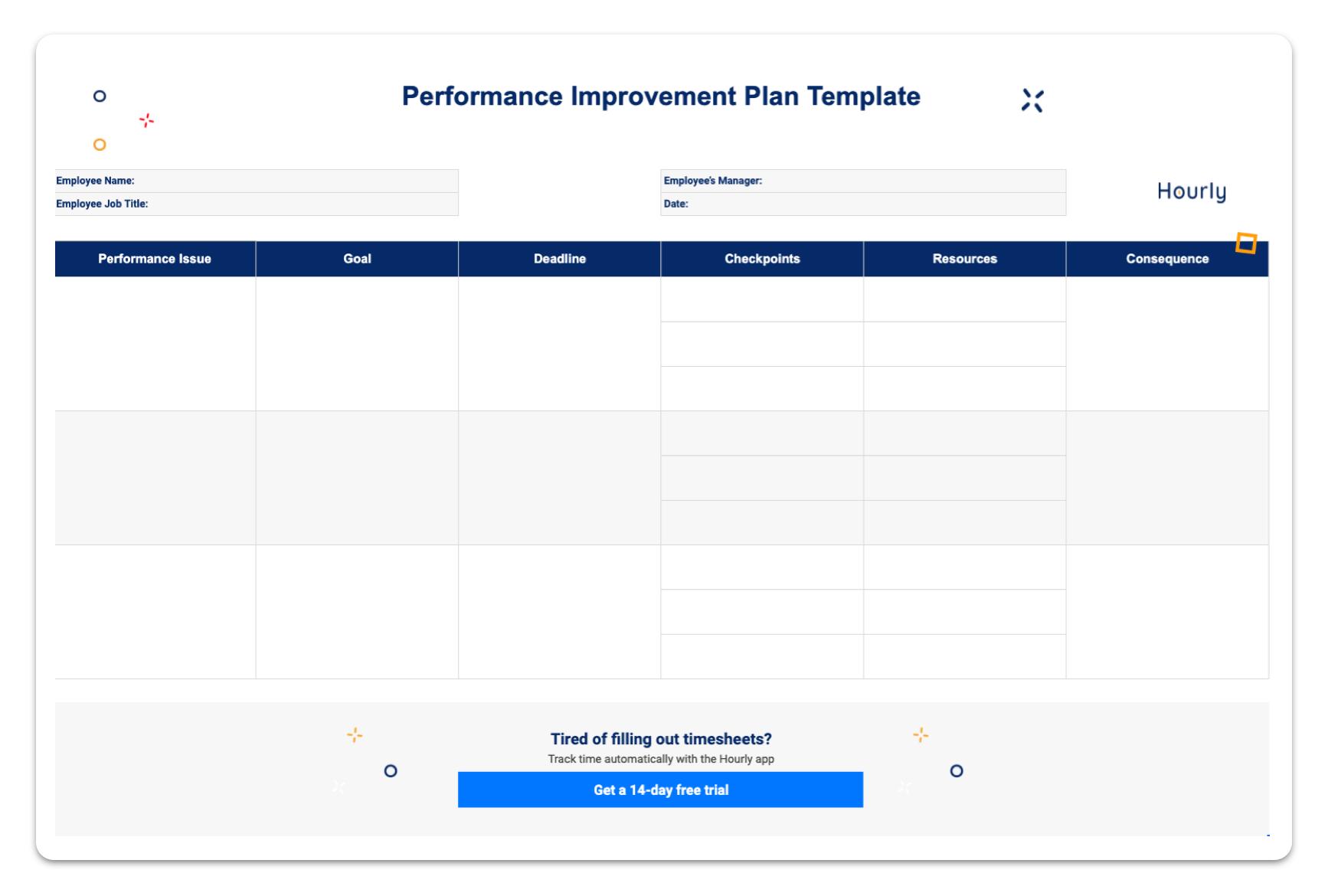 Performance improvement plan sample template.
