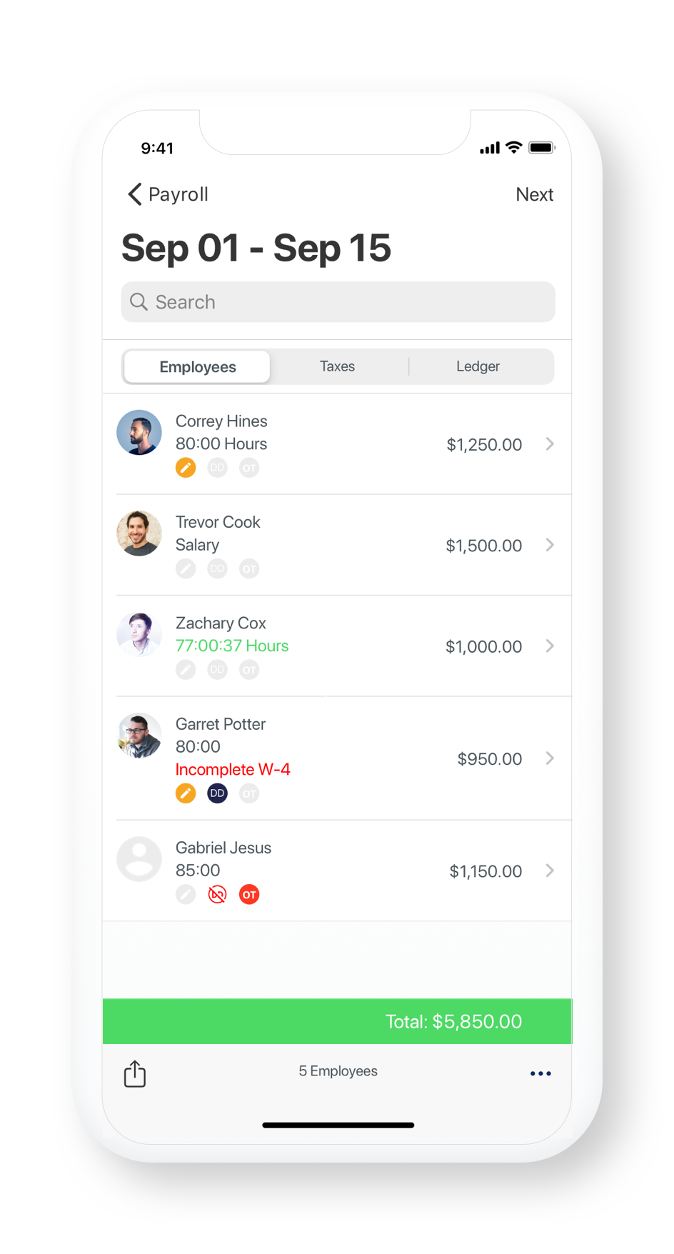 Hourly payroll on iPhone