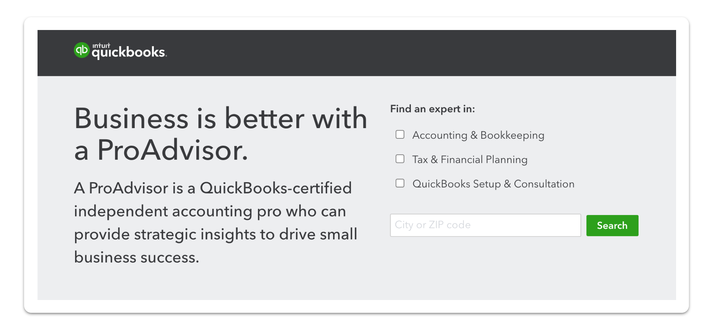 QuickBooks ProAdvisor website screenshot