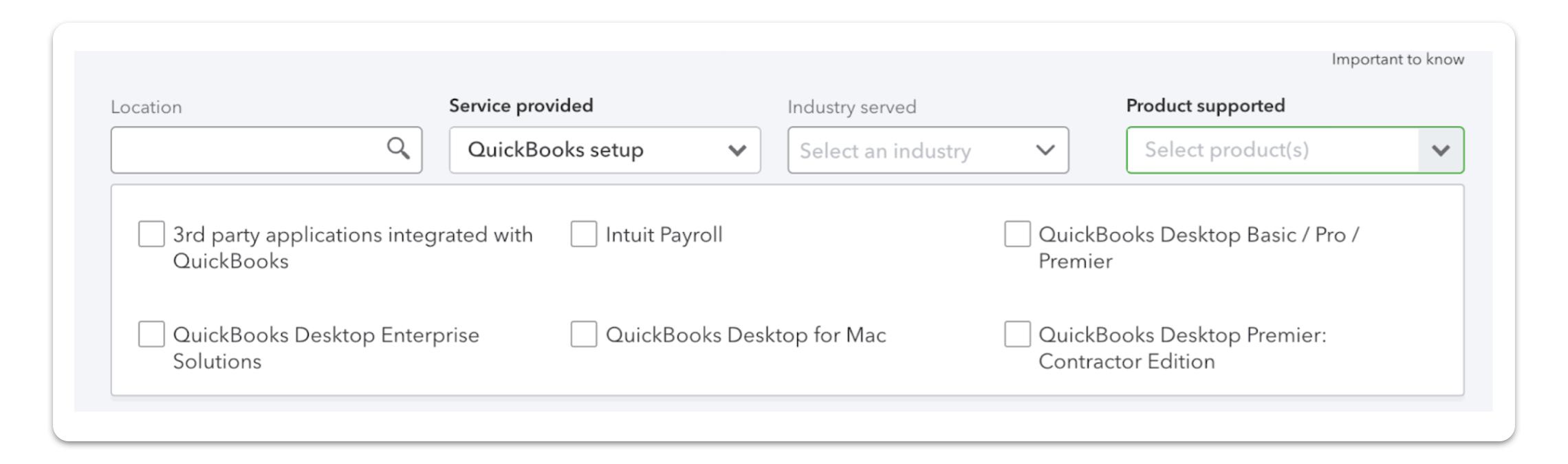 QuickBooks ProAdvisor search tool screenshot