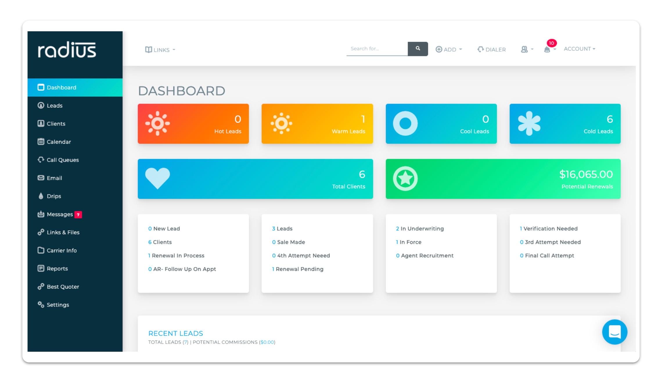 Radisubob dashboard screenshot