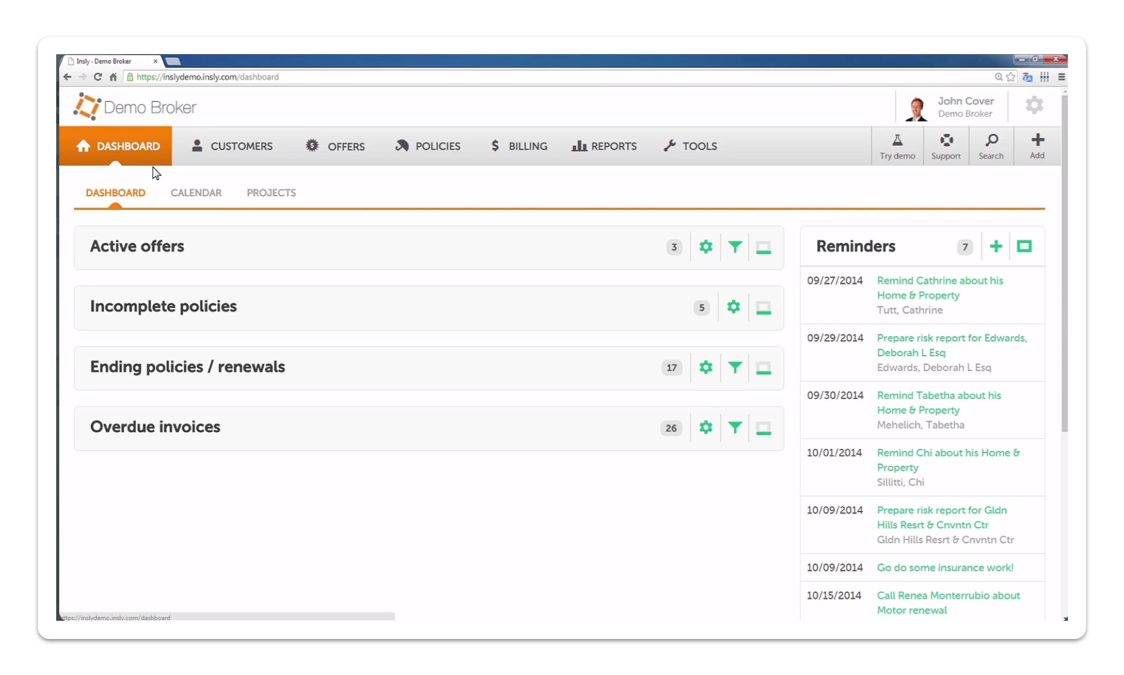Insly CRM dashboard screenshot