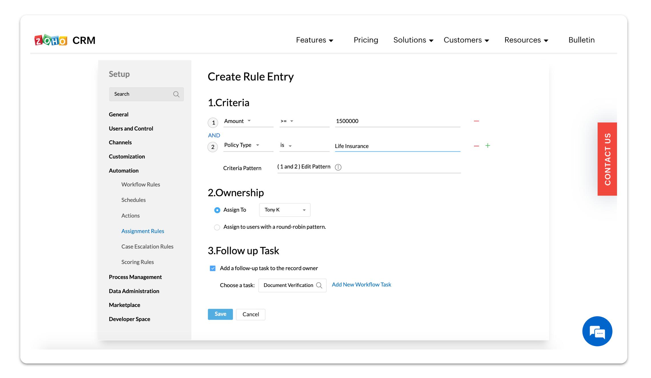 Zoho CRM software screenshot