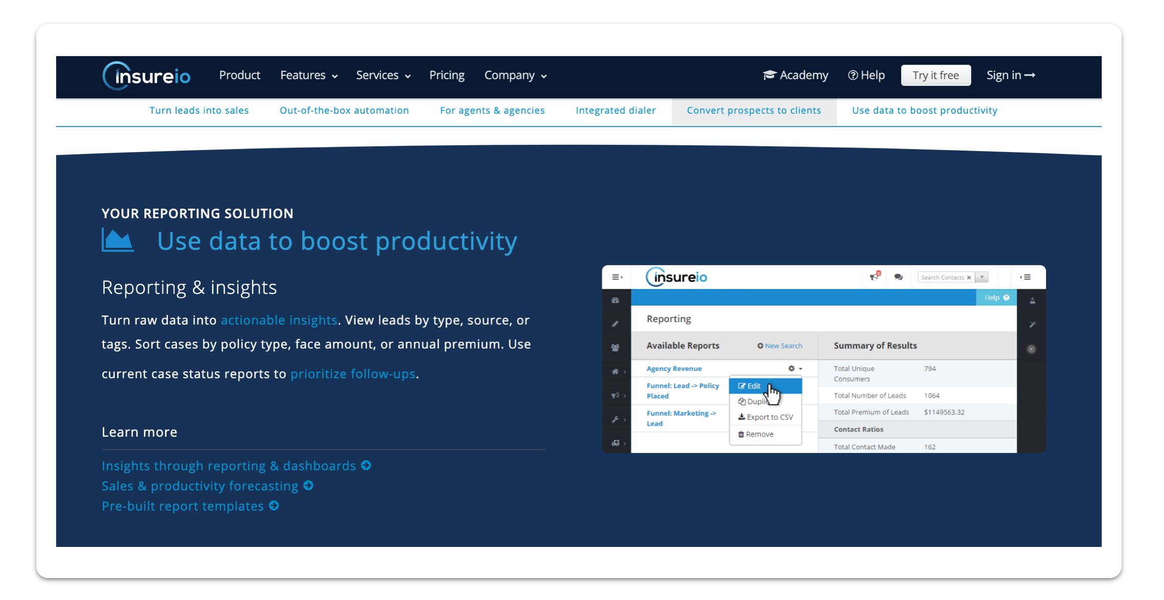 Insureio CRM screenshot
