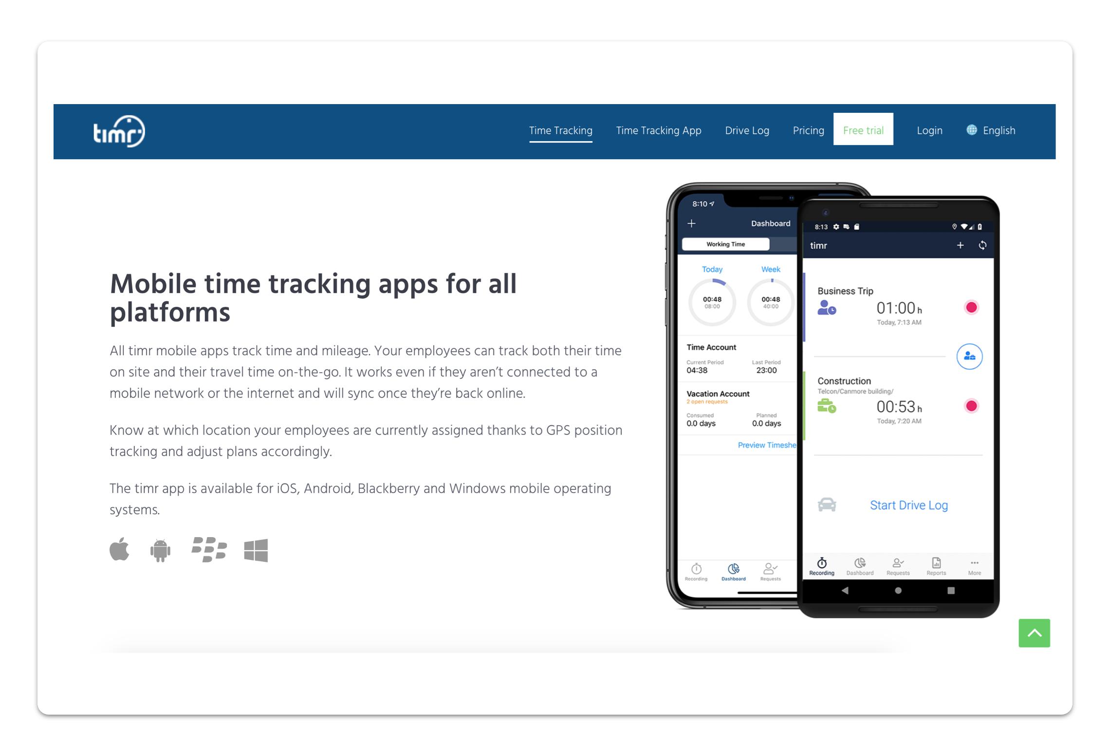 Timr time tracking app screenshot