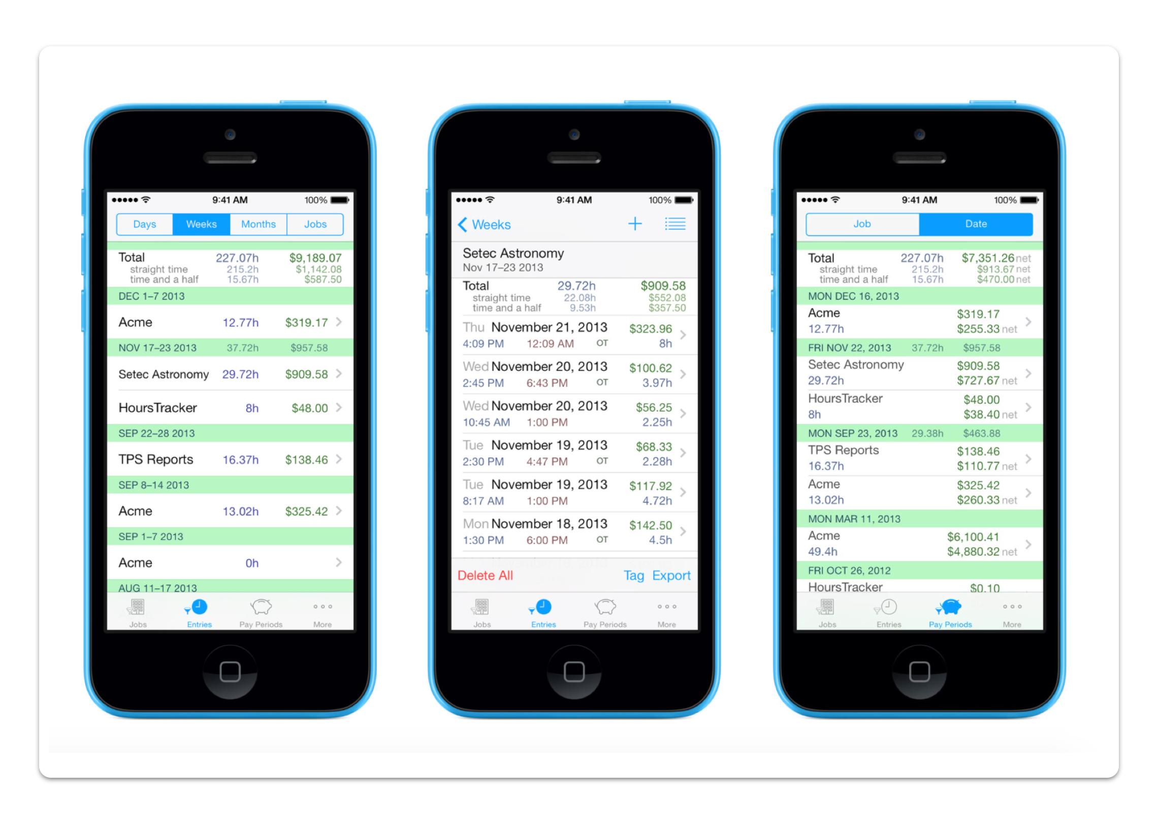 HoursTracker mobile app screenshot