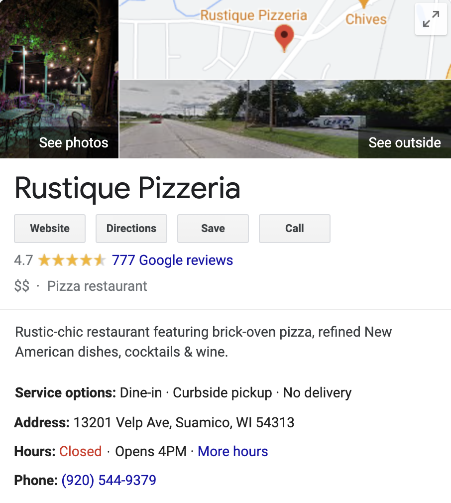 Google My Business page for Rustique Pizza