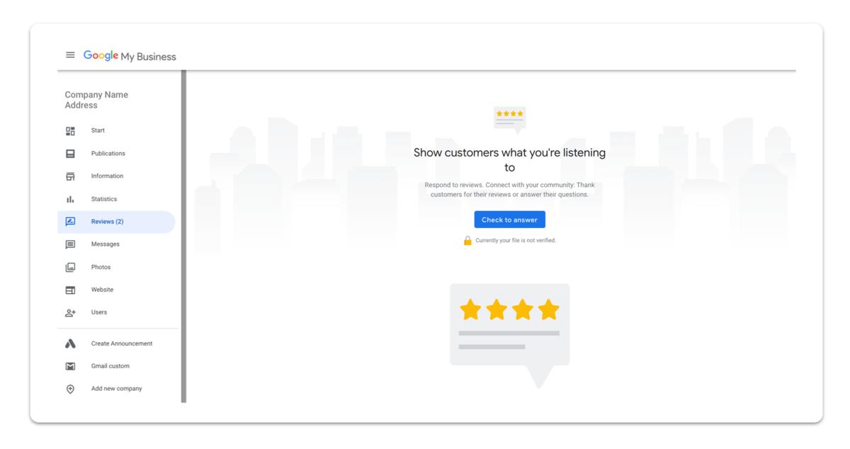 GMB customer review section screenshot