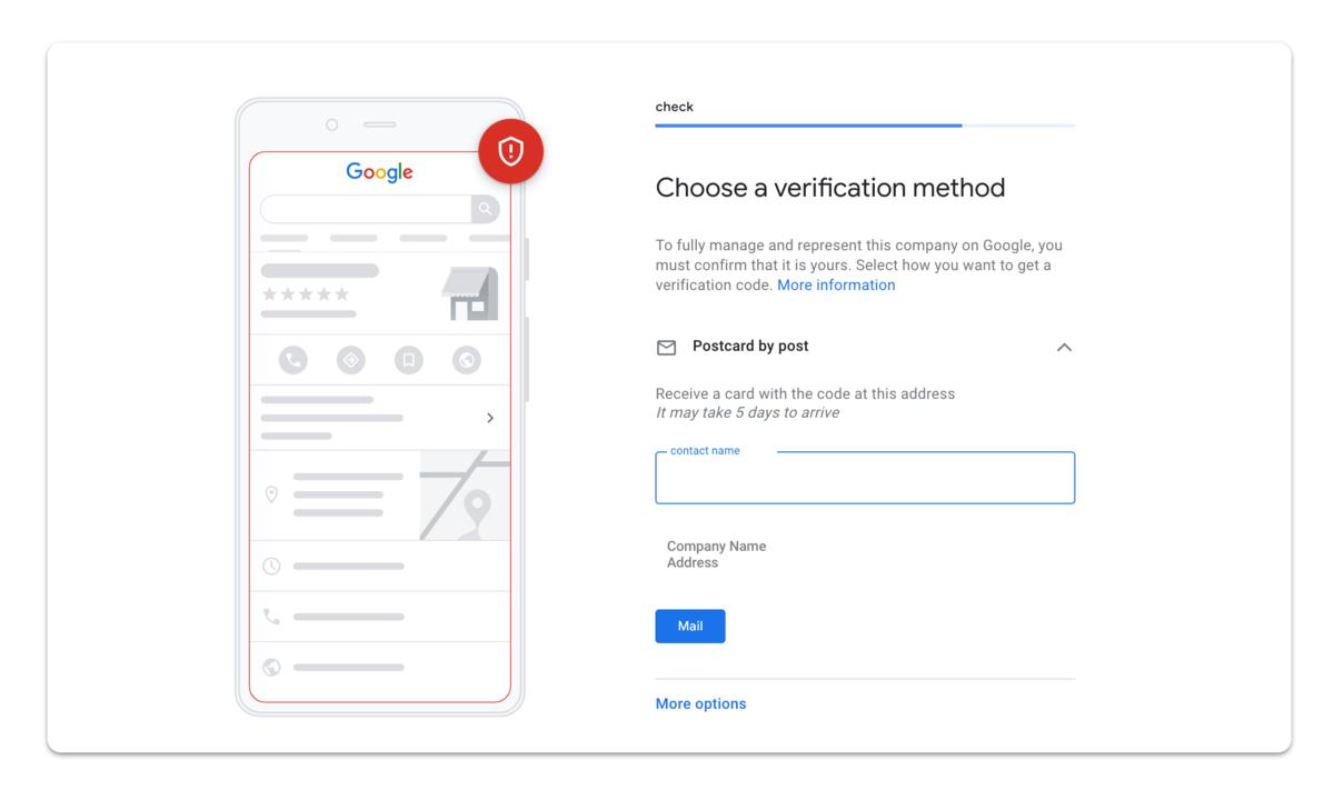 GMB verification page screenshot