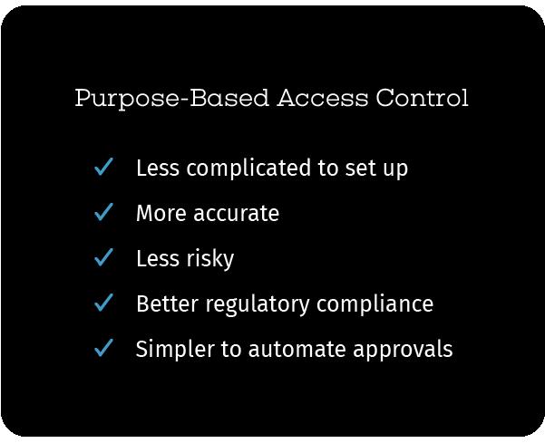 Purpose-based access control advantages
