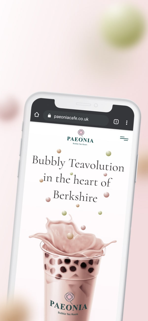 An iPhone mockup of a website that sells Bubble tea.