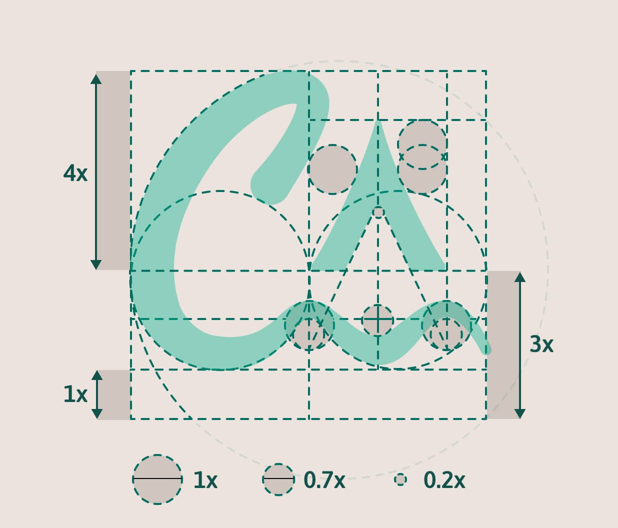 A grid representing the logo contruction.