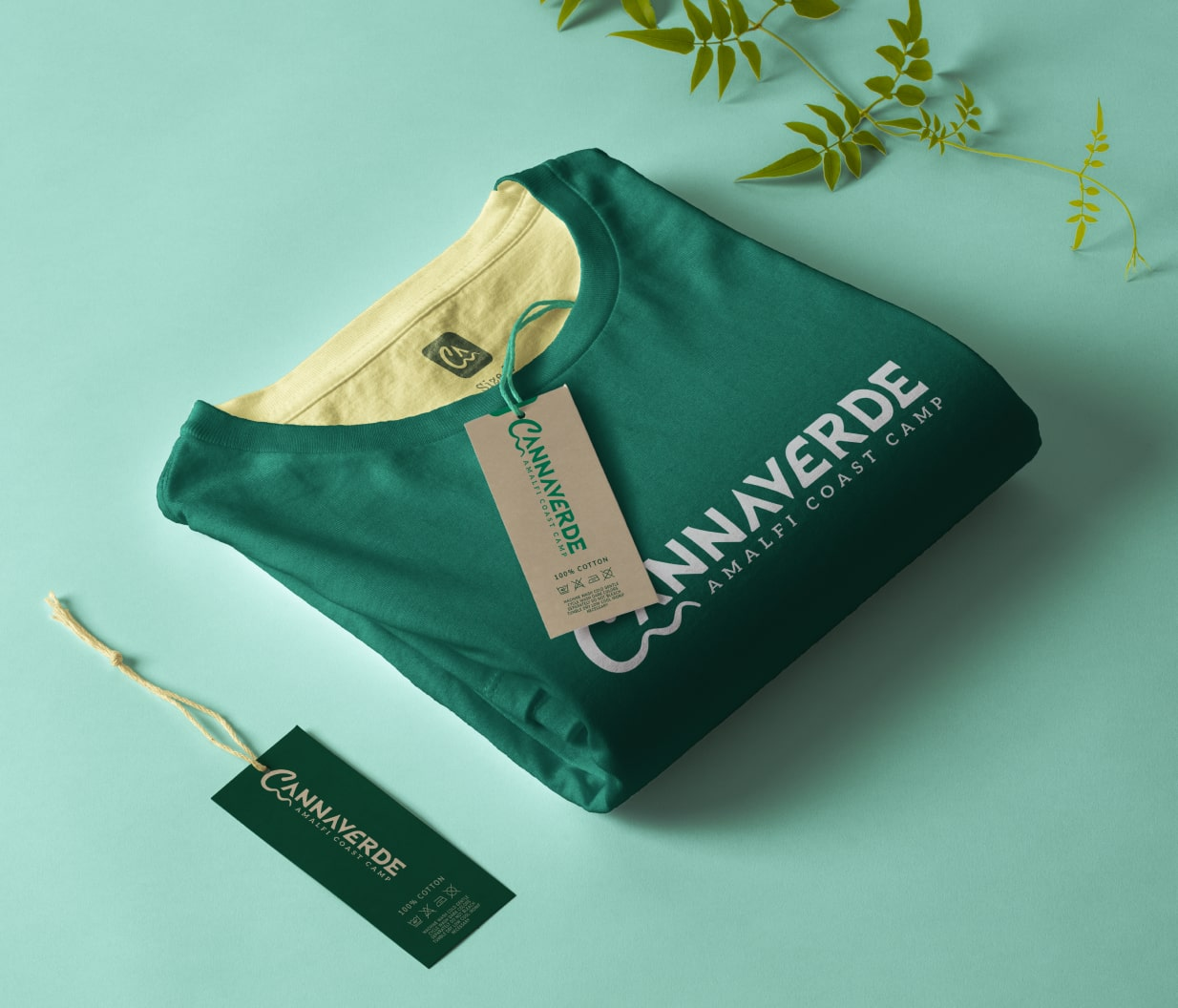Customized green shirt with the logo of Cannaverde.