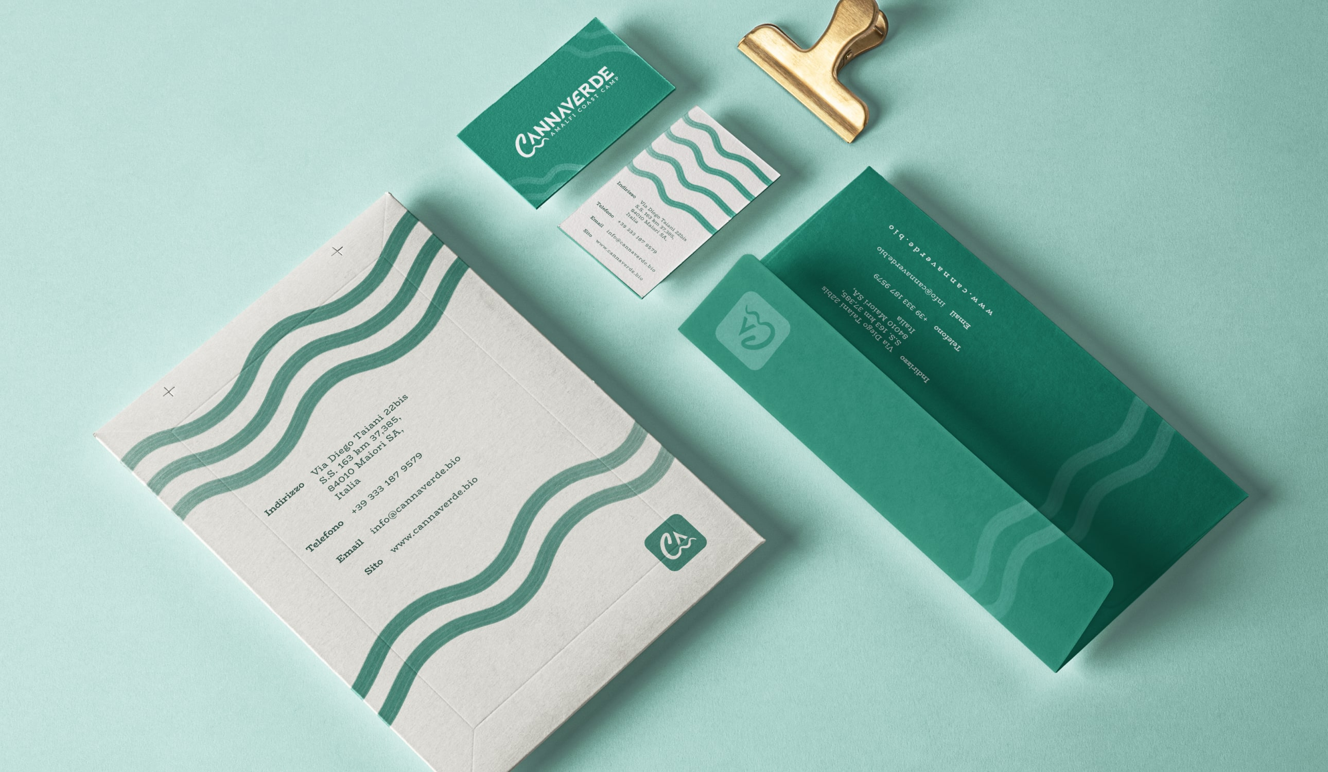 A stationary made out of an envelope and business card for Cannaverde.