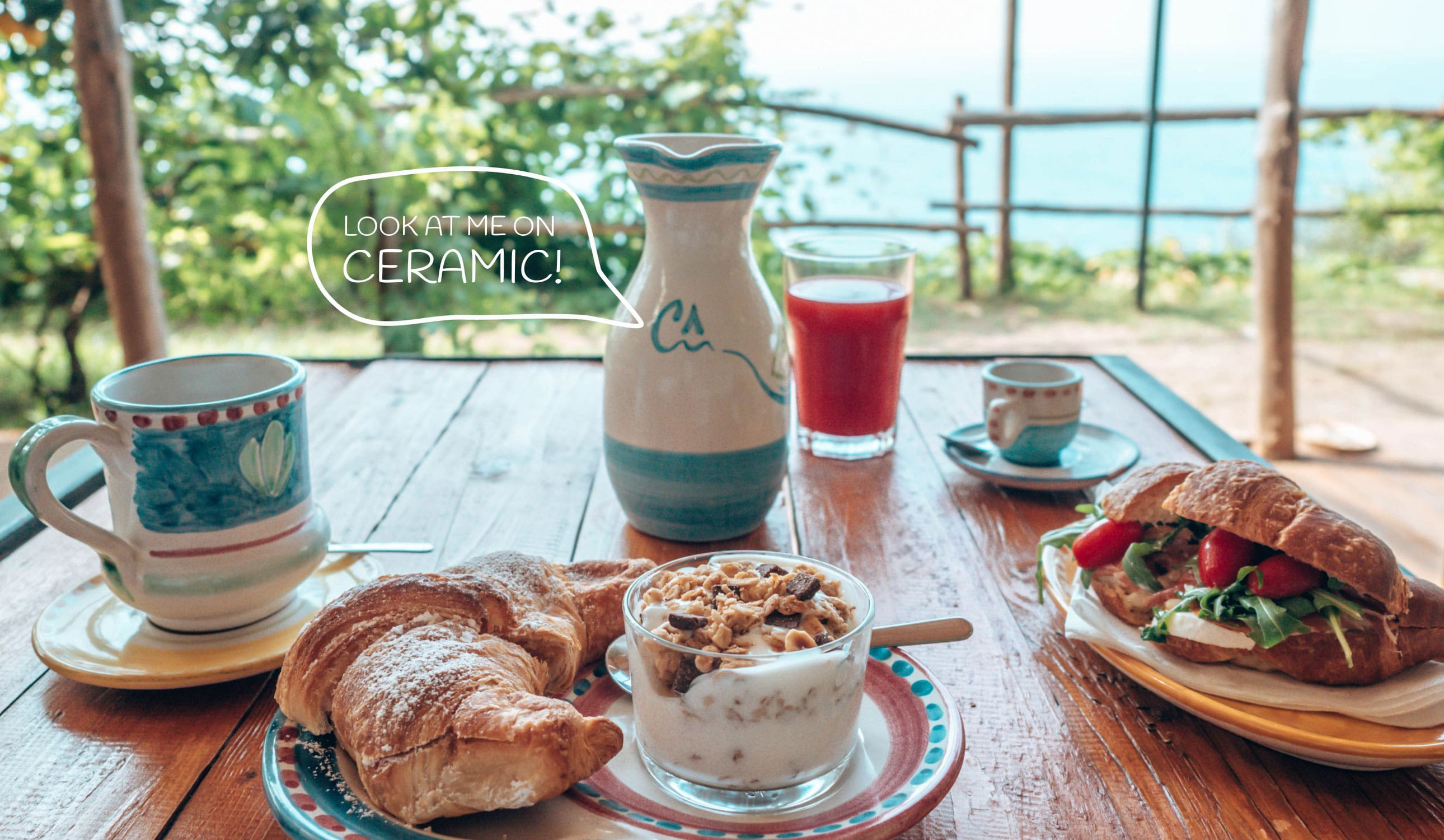 A coffee and sweet and salty breakfast served in hand-made Vietri ceramics.