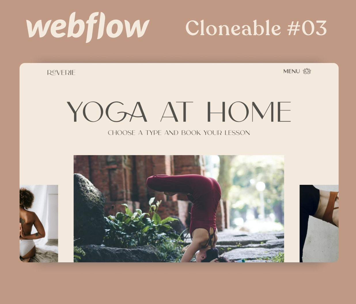 Webpage mockup of yoga at home courses