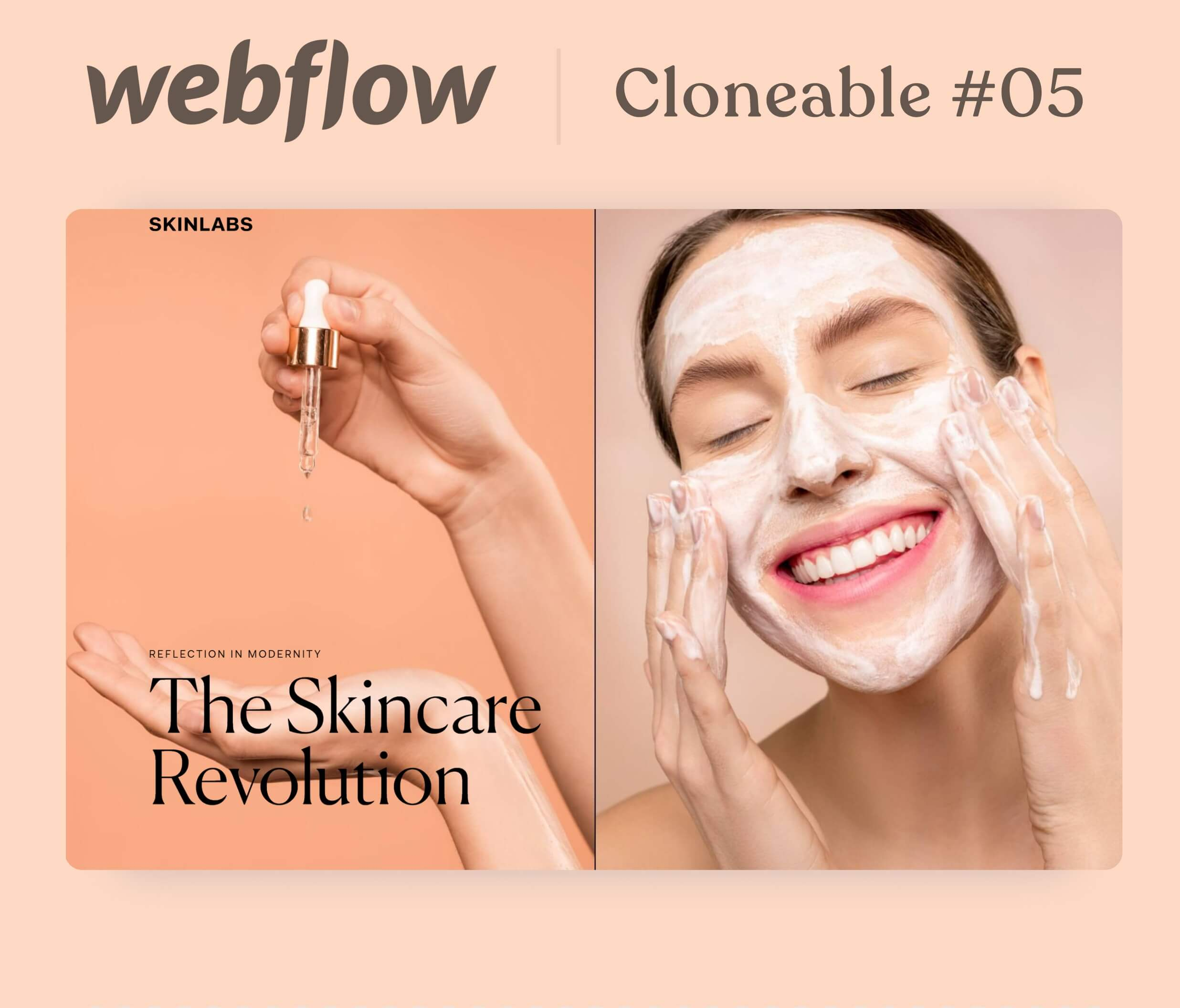 Webpage mockup of skincare products