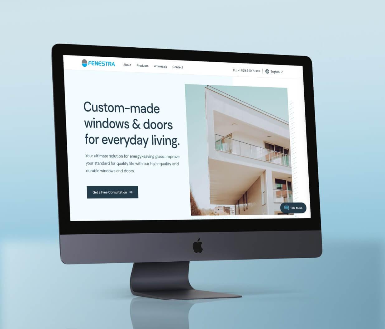 Fenestra website - website homepage, hero section