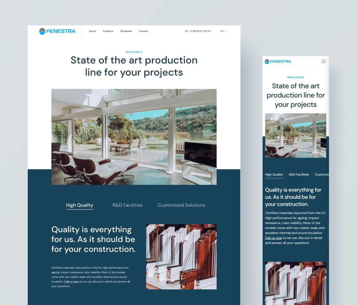 Desktop and Mobile version of Fenestra's responsive website.