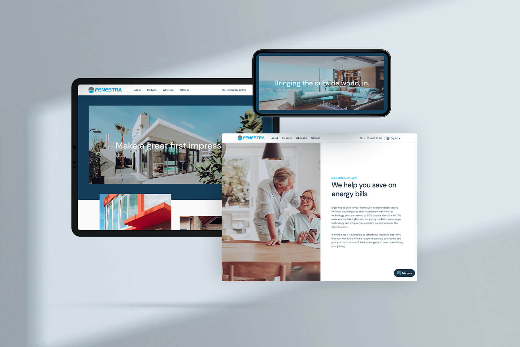 A mockup of a responsive website design for company that produces windows and doors