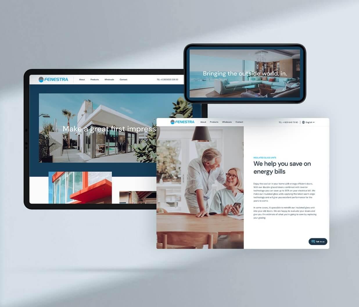 Responsive website screens for a windows & doors manufacturer website..
