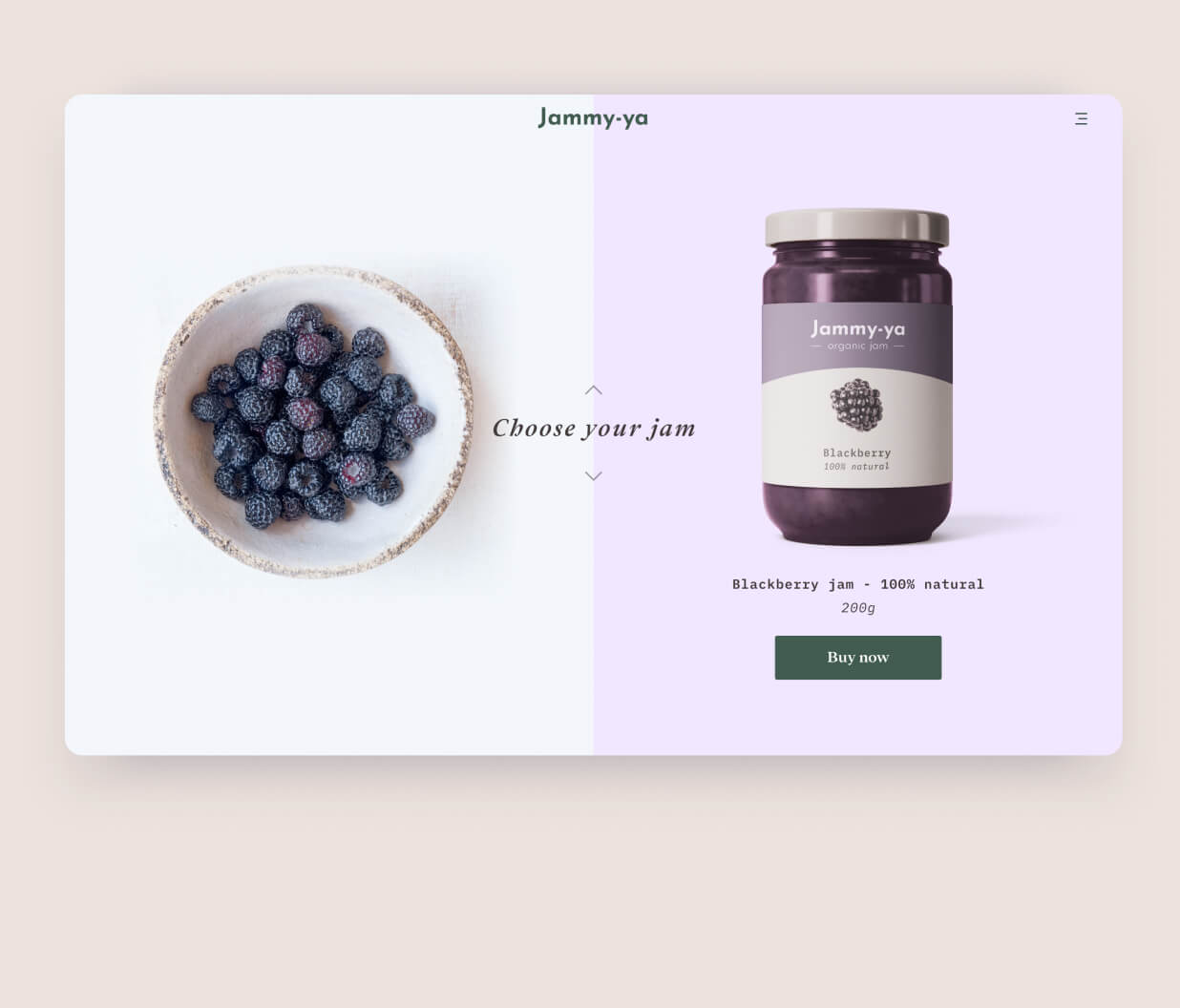 Webpage mockup of organic jam products