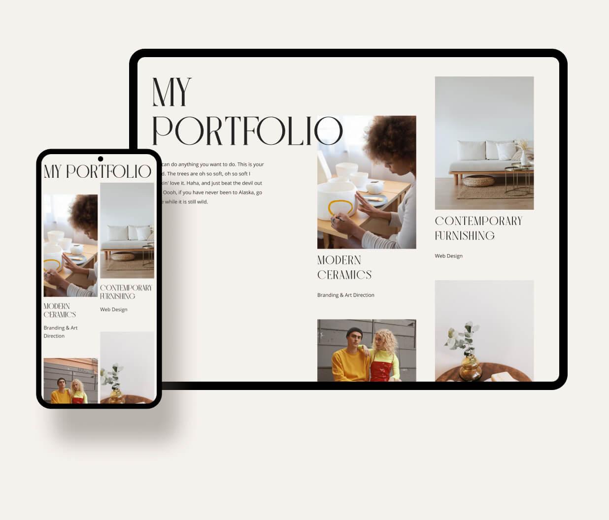 A mockup od a webpage for a portfolio page