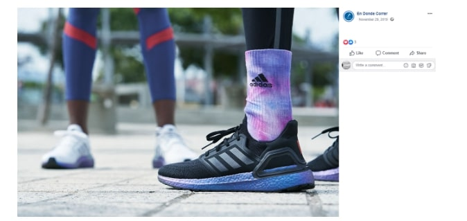 A Facebook user posting an image with adidas running shoes - without mentioning adidas in text-form.