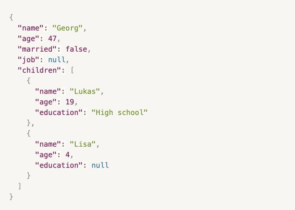 API response JSON
